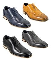 Men's Black Tan Navy Grey Leather Formal Wedding Lace up Shoes Oxfords Brogues
