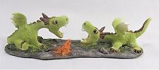 Dragon youngsters playing as frog watches Fantasy decor mini figurine