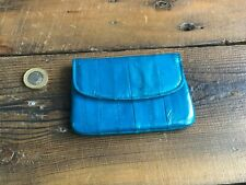 Genuine Eel Skin Leather Purse Turquoise Credit Card Coin Note Zip Fastening