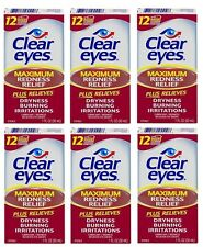 6 Pack Clear Eyes Maximum Redness Relief Eye Drops 1 oz Each
