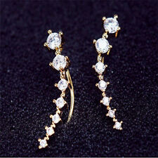 Yellow Gold Plated CZ Ear Climber Crawler Earrings