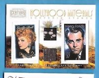 LUCILLE BALL HENRY FONDA WORN SWATCH MATERIALS RELIC & STAMP CARD #250 AMERICANA