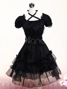 Gothic Black One-piece Short Sleeves Lace Trim Neck Straps japanese Lolita Dress