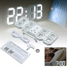 Modern 3D White LED Digital Wall Clock 24/12 Hour Night mode Snooze Alarm Timer