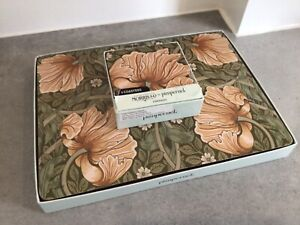 MORRIS & CO PIMPERNEL GREEN PLACEMATS X 6 COASTERS X 6 GOOD CONDITION