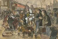 Jan Johnson - 20th Century Pen and Ink Drawing, Busy Street Scene