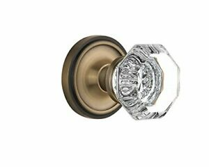 """Classic Rosette with Waldorf Crystal Door Knob Privacy 2.375"""" Antique Brass 704"""