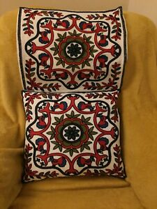 TWO EMBROIDERED CUSHION COVERS  16X18 INCHES FITS 18x18 PADS EX COND