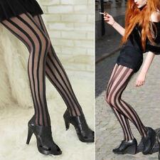 Fashion Women Girl Punk Gothic Stockings Black Vertical Stripe Tights Pantyhose