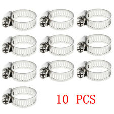"""10Pcs Stainless Steel Adjustable Drive Hose Clamps Fuel Line Worm Clip 3/8""""-5/8"""""""