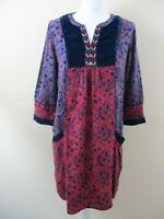 Mantaray tunic dress size 10 navy velvet panels embroidered boho art abstract