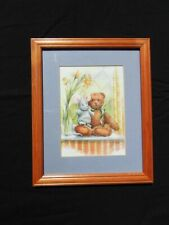 Teddy Bear picture in a wooden frame 23.5cm x 28.5cm