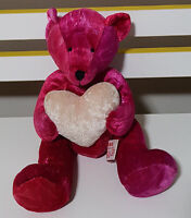 RUSS BERRIE KISSES TEDDY BEAR PLUSH TOY! SOFT TOY ABOUT 19CM SEATED WITH HEART!