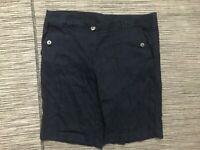 J Jill Women's Size 10 Shorts Linen Stretch Blue Flat Front Belt Loop