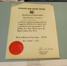 1961 Bolling Air Force Base 1100th Air Base Wing Signed Sealed Award Certificate