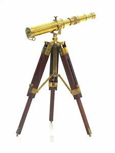 Antique marine brass nautical 18 inch telescope spyglass on wooden tripod stand