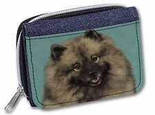 More details for keeshond dog girls/ladies denim purse wallet christmas gift idea, ad-kee1jw