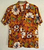 Vintage 60s 70s Royal Hawaiian Aloha Shirt Barkcloth M