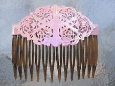 "Vintage Retro Opalescent Pink Hair Side Combs 2 3/4"" Comb NEW  Made in USA"