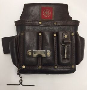 GE General Electric VTG Leather Lineman Electrician Brown Tool Belt Pouch Bag