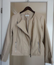 Calvin Klein Moto Motorcycle Jacket Large Beige Cream Beautiful!