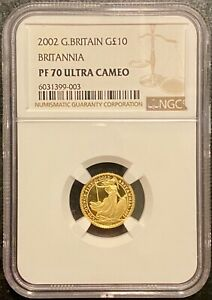 2002 Britannia Gold Proof £10 1/10oz coin NGC PF 70 Ultra Cameo (1 of 12 in 70)