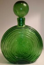 "11""Vintage Mid Century Green Glass Eagle Coin Decanter Large Bulb Rossini Empoli"