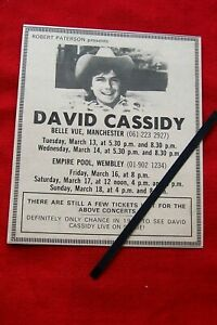 DAVID CASSIDY 1973 ORIGINAL VINTAGE CONCERT ADVERT WEMBLEY  , MANCHESTER
