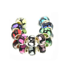 50pcs Mixed Love&Heart Murano Acrylic Charms Beads Fit European Charm Bracelet