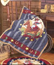 LIL BUCKAROO Twin QUILT SET : BOYS COWBOY BRONCO PONY HORSE PATCH MAGIC