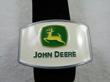 John Deere Green and White Enamel Belt Buckle