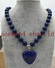 Charming 10mm Blue Lapis lazuli Round Beads Heart Pendant Necklace 18 Inch AAA