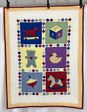 Handmade Baby Sampler Quilt Crib Blanket Unisex Wall Hanging Duck Bear Horse ABC