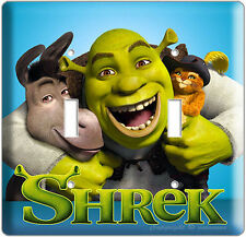 SHREK DONKEY PUSS IN BOOTS DOUBLE LIGHT SWITCH PLATE KIDS PLAY GAME ROOM DECOR N