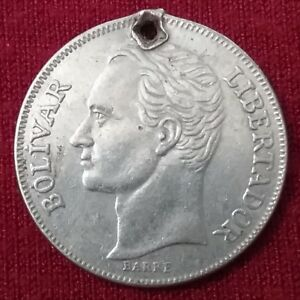 Nickel Coin 1990 Venezuela Fuerte Libertador 5 Bolivares Y#53a.2 Dollar