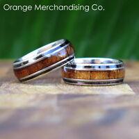 8mm Hawaiian Koa Wood Ring Stainless Steel Hawaii Wedding Engagement Band #14