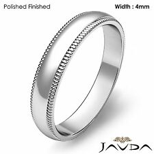 Plain Men's Wedding Band Dome Milgrain Edge Ring 4mm Platinum 7.4g Size 12-12.75