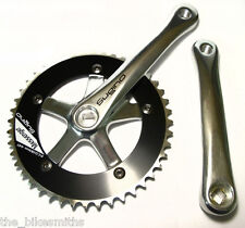 Sugino Messenger 170mm SILVER / BLACK Track Fixed Gear Bike Crank Set 1/8""