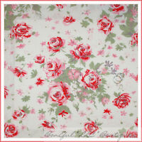 BonEful Fabric FQ Cotton Quilt White Red Pink Paris Bebe Rose Flower Shabby Chic