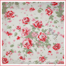 BonEful Fabric FQ Cotton Quilt White Red Pink Paris Bebe Rose Flower Shabby Chic