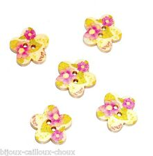 1 LOT de 5 BOUTONS en BOIS forme fleur et motif floral rose vert 17mm button
