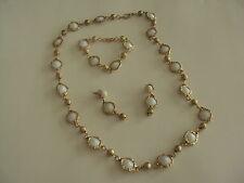 Vintage Korea White Lucite Milk Glass Necklace Bracelet Earrings Jewelry Signed