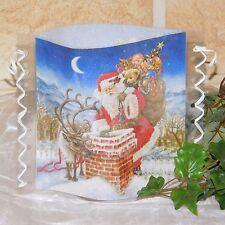 Tischlicht/Windlicht - Weihnachtsmann/Rentier auf Dach - Weihnachten/Winter