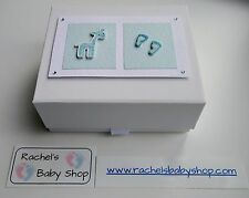 Handmade Baby / Keepsake Box - White with magnetic lid.