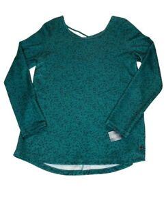 Ideology Athletic Shirt Top Workout Yoga Women's Medium Green/Black Criss-Cross
