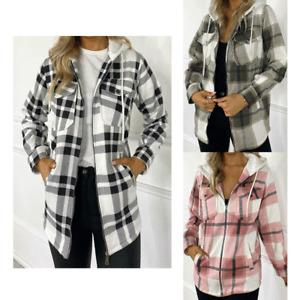 Ladies Womens Hooded Check Baggy Long Sleeve Shacket Top Shirt Blouse Jacket