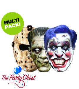 3 HORROR CARD FACE MASKS 2D Halloween Hockey Frankenstein Joker Clown Face Masks