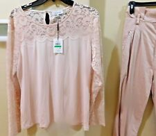 Calvin Klein Womens Collection  Long Sleeve Top W/Lace sleeves and upper sz lg
