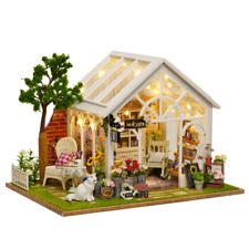 DIY Miniature Wooden Dollhouse Kit w/ LED Light The sunlight greenhouse& music