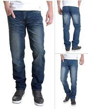 Crosshatch Men's New Fashion Jeans Straight Fit Vintage Faded Blue Denim Farrow